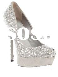 silver crystal platform high heel wedding shoes