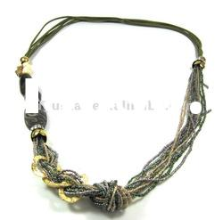 statement art deco multi layered braided plastic beaded necklace antique gold plated