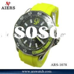yellow color stainless steel case silicone rubber watch