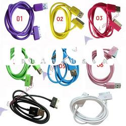 1PC Sync USB Data Cable & Charger Cord for Iphone 4G 3G 3GS Ipod Colorful