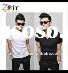 2012 fashion v-neck mens plain white t-shirts