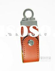 2012 generic leather usb flash disk with keychain