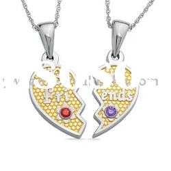 Best Friends Heart Pendant Necklace.ALNB-3410