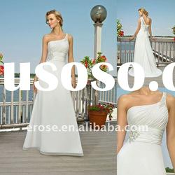 Best Popular Beach One-Shoulder Chiffon Wedding Dress With Beading ML-B076