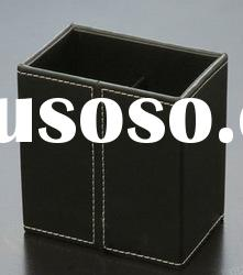 Black leather cube desktop pen holder for office supplies
