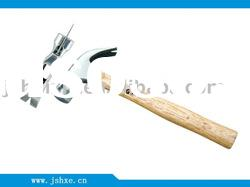 Claw hammer with wooden handle
