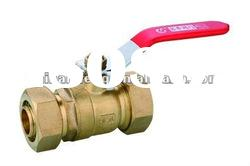 Forged brass ball valve with double compression connector/Copper fitting for plastic pipe