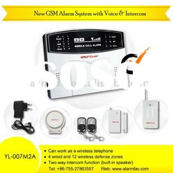 GSM Mobile Call Alarm System With 4 Wired and 12 Wireless Zones (YL-007M2A)