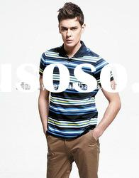 Gentle and comfortable small cycle stripe yarn dyed polo t-shirts for men