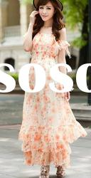 Lady Style Flower Printed Lotus Leaf Layers Long Dress Rose BJ12062410-1