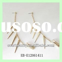 Lastest fashion Gold plated Long chains Rivet Roll-Butterfly Dangle earrings