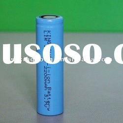 Long cycle life CR18650 rechargeable Li-ion column battery 3.7v 2200mAh