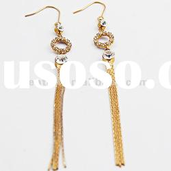 Long fashion crystal slimming earrings gold hanging earrings