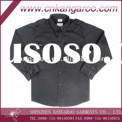 Men's T/C twill black military shirt with long sleeves