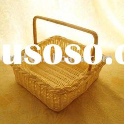 Natural material and color rattan wicker home use handle storage basket