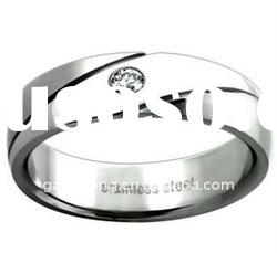Stainless Steel Women's Cubic Zirconia Wedding-style Band