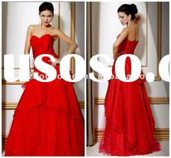Strapless Red Taffeta Custom made Ball Gown Evening Dress EV1360