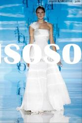VH1345 strapless with oversize tulle bow on the shoulder chiffon long trailing wedding dress