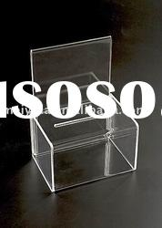 acrylic ballot box with back sign holder