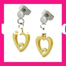 fashion beautiful girls stainless steel gold plated heart shape chain drop earring