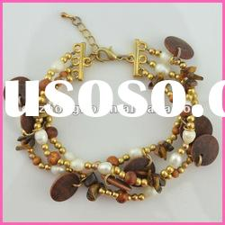 fashion jewelry Bijoux style 2012 wood jewelry pearl alloy bracelet