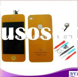 for iphone 4G parts orange color touch screen with lcd full set backcover