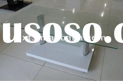 glass and wood coffee table with wheels