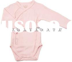long sleeve plain pink side closure baby romper