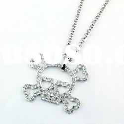 new fashion silver plating skull crystal pendant necklace jewelry