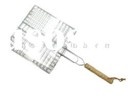 pine wood handle barbecue grill wire netting