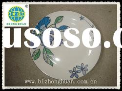 round ceramic dish and plate with flower print