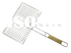 rubber wood handle barbecue grill wire netting