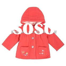 100% cotton hood long sleeve OEM baby girl coat with pockets