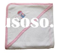 100% cotton terry embroidered cute fishing dog baby hooded towel