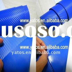 1.52M Width 3M Blue Carbon Fiber Vinyl Sticker With 3M Glue Air Free Bubbles