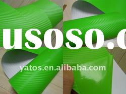 1.52M Width Green 3D Carbon Fiber Vinyl Sticker With 3M Glue Air Free Bubbles