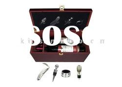 2011year promotional wooden wine box with 4pcs accessories and 2bottle