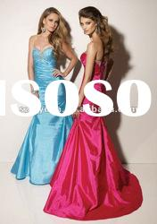 2012Hot Sale beaded crystal blue& pink long ruffles women formal Evening Dress / Party Gown