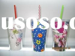 2012 AS cup/plastic water cup/drinking cup with lid and straw