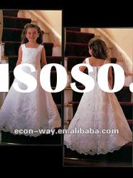 2012 Fashion Satin Floor Length Square Neckline Lace Flower Girl Dresses
