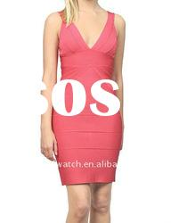2012 Pink Deep V Neck Party Evening Dress Fashion Dress DH029