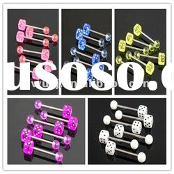 2012 Wholesale New Hot Charm 14G 316L Surgical Stainless Steel plated titanium gold tongue ring