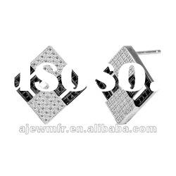 2012 hot sale Micro pave setting white CZ sterling silver earring