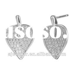 2012 hot sale leaf Micro pave setting white CZ sterling silver earrings