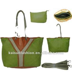 2012 new fashion hot sale green pu leather cheap handbags the most beautiful handbags made in china