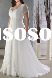 2012 new style high quality short sleeve lace wedding dress