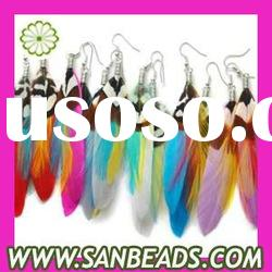 2012 newest wholesale fashion cheap long feather earrings for women