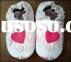2012new design soft sole baby leather shoes red-heart