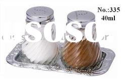 2 pieces glass salt & pepper shaker with chromeplated plate