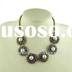 3 Plated Color Alloy Pendant Flower Necklace With Pearl, Nice Choker Pearl Jewelry